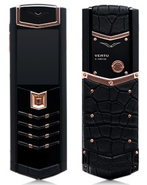 Vertu Signature S Design DLC Pure Black Gold Alligator
